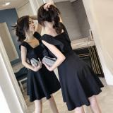Discount Korean Style New Style Flounced Sleeveless A Line Skirt Dress Black