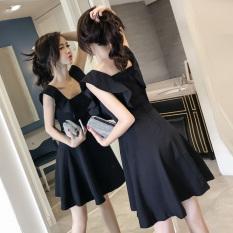 Retail Price Korean Style New Style Flounced Sleeveless A Line Skirt Dress Black
