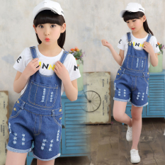 Girls Cowboy Suspender Pants Summer Wear Set 2019 New Style 3-4-5-Year-Old Korean Style Summer Clothes Er Jian Tao Fashion Clothing By Taobao Collection.