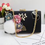 Buy Korean Style New Style Home Rabbit Fur Ball Pearl Flowers Bag Black China