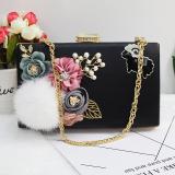 Korean Style New Style Home Rabbit Fur Ball Pearl Flowers Bag Black Deal