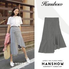 1dec3d827 Black And White Plaid Irregular Skirt Korean Style New Style Vintage Joint Lotus  Leaf Fishtail Hem