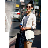 Recent Korean Style New Style Slim Fit Female Suit Ivory