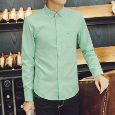 Korean Style Oxford Spinning Solid Men S Shirt Long Sleeved Shirt Green Compare Prices