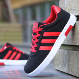 Sale Men S Korean Style Canvas Skate Shoes Black And Red Black And Red On China