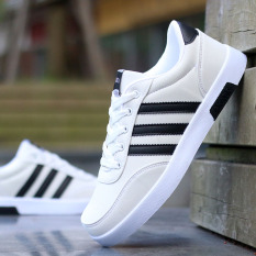 Compare Prices For Men S Korean Style Canvas Skate Shoes White And Black White And Black