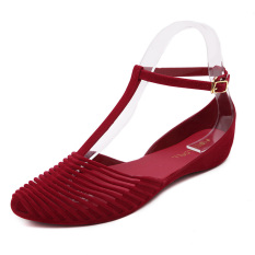 Buy Korean Style Plastic Flat Heel Student Gel Shoes Flat Sandals Red Red Cheap China