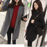 Korean Style Plus Cotton Spring And Autumn Female Long Coat Gray Promo Code