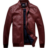 Men S Korean Style Stylish Cropped Leather Jacket Dark Red Color Dark Red Color Promo Code