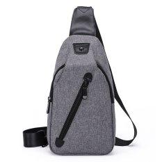 Low Cost Korean Style Premium Shoulder Bag Canvas Shoulder Travel Holder Grey Intl