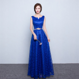 Discount Korean Style Red Bride Slim Fit Evening Gown Wedding Dress Long Sapphire Blue Color China