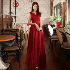 Korean Style Red Bride Slim Fit Evening Gown Wedding Dress Long Wine Red Color In Stock