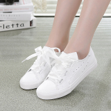 The Cheapest Korean Style Ribbon Nv Chun Versatile Canvas Shoes Sneakers White Online