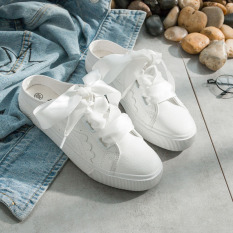 Brand New Women S Korean Style All Match Ribbon Laced Slip On White Canvas Shoes