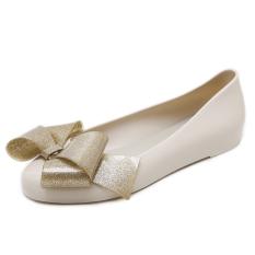Buy Korean Round Toe Flat Heel Slip On Pull On Waterproof Ladies Shoes Bow Pumps Beige Beige Online China