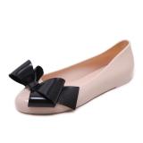 Buy Korean Round Toe Flat Heel Slip On Pull On Waterproof Ladies Shoes Bow Pumps Pink Pink On China