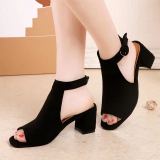 Low Cost Women S Korean Style Chunky Heel Sandals Light Green Light Green