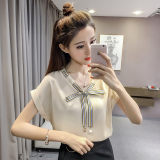 Who Sells The Cheapest Korean Style Short Sleeved Female New Style Top Chiffon Shirt Beige Online