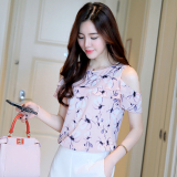 Best Price Korean Style Short Sleeved Female Shirt Chiffon Shirt Pink