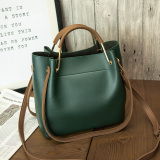 Women S Korean Style Shoulder Handbag Large Bucket Bag Green Green Oem Cheap On China