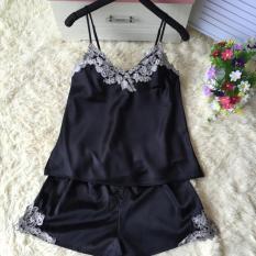 Discounted Korean Silk Female Summer Pajama Women S Sleepwear Black Black