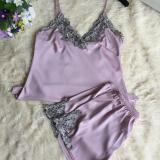 The Cheapest Korean Silk Female Summer Pajama Women S Sleepwear Lotus Color Lotus Color Online