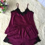 Top Rated Korean Silk Female Summer Pajama Women S Sleepwear Wine Red Color Wine Red Color