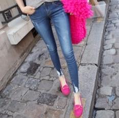 Compare Price Korean Style Slim Fit Slimming Skinny Pants Medium Waist Denim Pants Dark Blue 890 On China