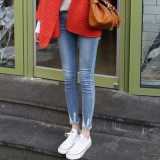 Korean Style Slim Fit Slimming Skinny Pants Medium Waist Denim Pants Light Blue 891 In Stock