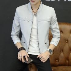 Cheapest Men S Korean Style Slim Fit Thin Jacket Light Gray Online