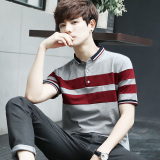 Korean Slim Fit Youth Turndown Collar Polo Shirt T Shirt Gray Gray Other Discount