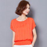 The Cheapest Summer New Style Short Sleeved Chiffon Blouse Orange Online
