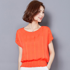 Buy Summer New Style Short Sleeved Chiffon Blouse Orange Cheap China