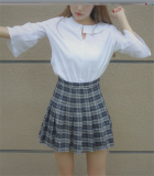 Get The Best Price For Korean Style Slimming Summer Student Skirt Sapphire Blue Color Lined