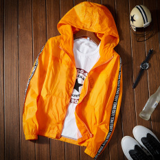 Review Korean Style Solid Color Thin Student Baseball Clothes Outdoor Jacket Orange On China