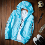 Best Offer Korean Style Solid Color Thin Student Baseball Clothes Outdoor Jacket Sky Blue Color