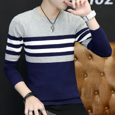 Low Cost Korean In Spring And Autumn New Round Neck Slim Fit Sweater Men Sweater 842 Sapphire Blue 842 Sapphire Blue