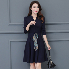 Spring And Autumn Elegant Dress Blue Shop