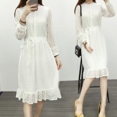 Price Compare Korean Style Spring And Slimming Lace Dress White