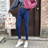 Korean Style Black And Gray Female High Waisted Pants Jeans Dark Blue For Sale