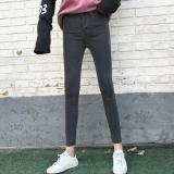 Get Cheap Korean Style Black And Gray Female High Waisted Pants Jeans Black And Gray