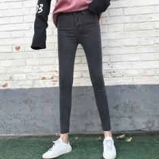 Top Rated Korean Style Black And Gray Female High Waisted Pants Jeans Black And Gray