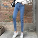 Best Deal Korean Style Black And Gray Female High Waisted Pants Jeans Light Blue