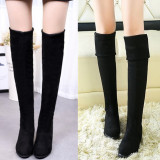 Latest Black Spring And Autumn Female Flat Thigh Boot Black Spring And Autumn Thin Cashmere