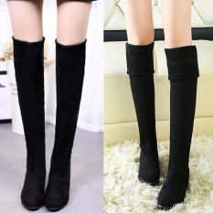 New Black Spring And Autumn Female Flat Thigh Boot Black Spring And Autumn Thin Cashmere