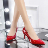 Get Cheap Korean Style Black Spring New Style Pumps Shoes Red Patent Leather Models 7 Cm