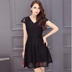 Price Comparisons For Korean Style Summer Elegant V Neck Lace Dress Black