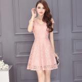 Review Korean Style Summer Elegant V Neck Lace Dress Lotus Color On China