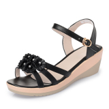 Cheaper Summer Flat Semi High Heeled Middle Aged Sandals Shoes Black