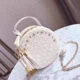 Recent Korean Style Tassled New Style Mini Round Bag Small Bag Off White Color